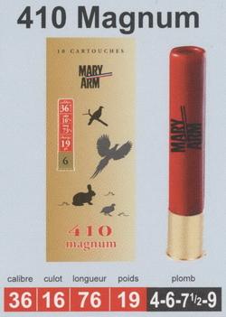 cartouches de chasse Mary Arm, Calibre 410