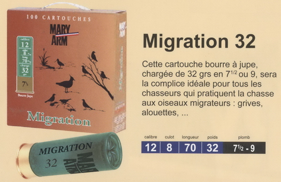 cartouches de chasse Mary Arm, Migration 32