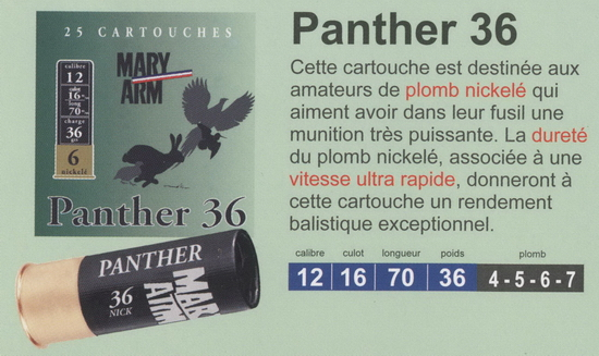 cartouches de chasse Mary Arm, Panther 36
