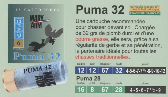 cartouches de chasse Mary Arm, Puma 32