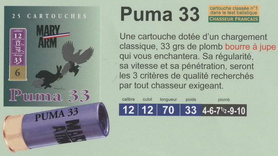 cartouches de chasse Mary Arm, Puma 33